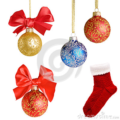 Christmas background with balls and bows over white  collage