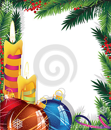 Christmas background with baubles and candles