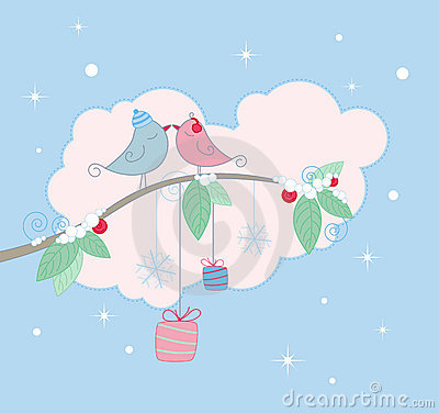 Christmas background with birds