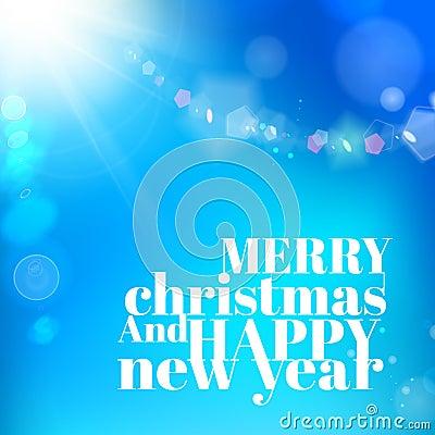 Christmas background on blue luminous rays.