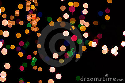 Christmas background of blurred lights