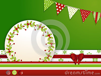 Christmas background with buttons and bunting