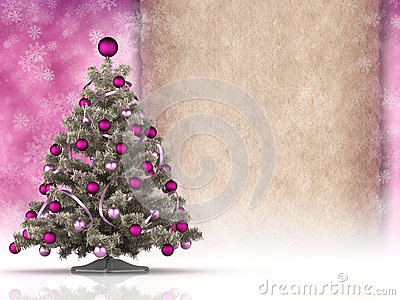 Christmas background - christmas tree and blank paper sheet