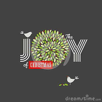 Christmas background with cute birds and the joy of Christmas sl