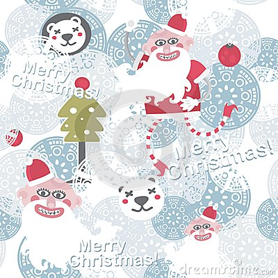 Christmas background with cute Santa Claus.