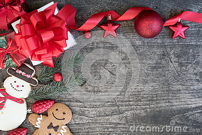 Christmas background with decorations gift boxes and snowman gin Stock Photo