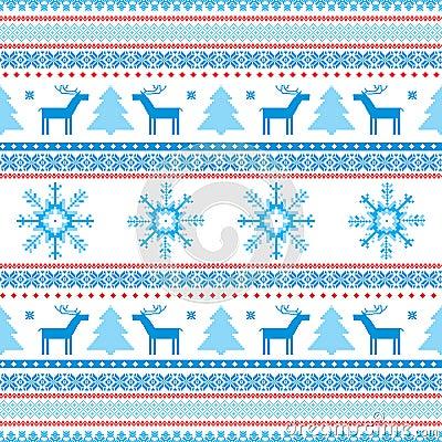 Christmas Background Fair Isle Knitted Motifs Stock Photos