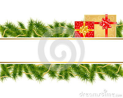 Christmas background with fir branches and gifts