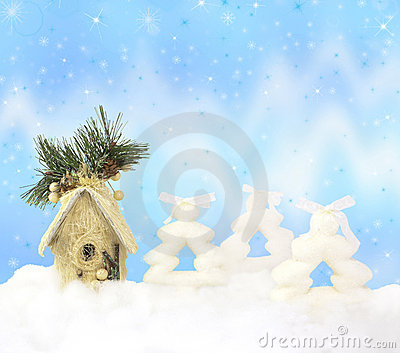 Christmas background with firs, house and lights