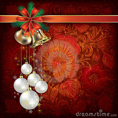 Christmas background with floral ornament