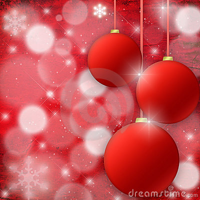 Christmas background with fur-tree spheres