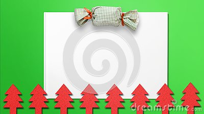 Christmas background with gift pack and Christmas tree cut-outs Stock Photo