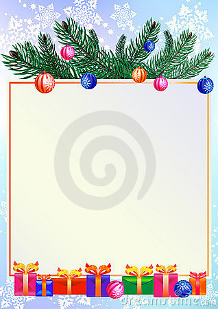 Christmas background with gifts and branch of pine
