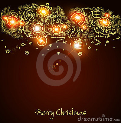 Christmas background with a glowing garland