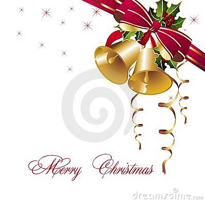 Christmas background with gold bells and ribbons
