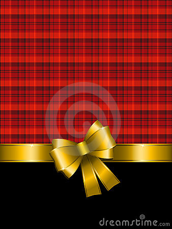 Christmas background with gold bow