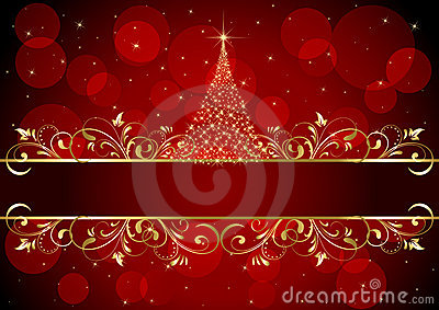 Christmas background with golden frame