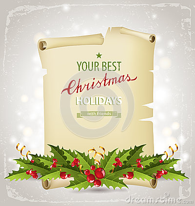 Christmas background with holly berry border