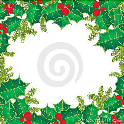 Christmas background with holly berry leaves