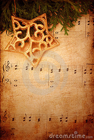 Christmas Background With Old Sheet Music Stock