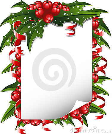 Christmas background: paper decorated with holly