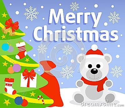 Christmas background with polar bear