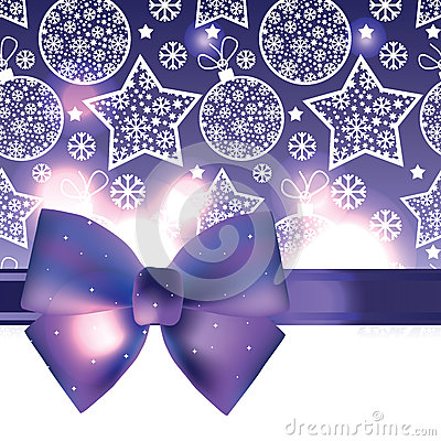 Christmas background with purple bow