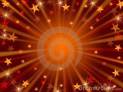 Christmas background radiate in golden and brown