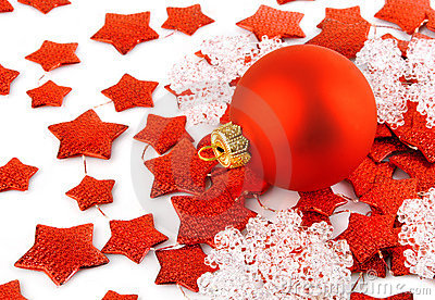 Christmas background with red ball and stars