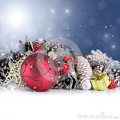 Christmas background with red ornament, garland an