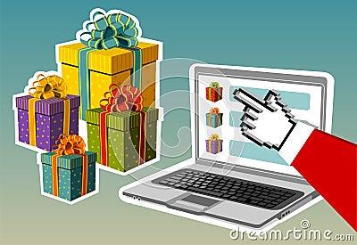 Christmas background. Santa buying online