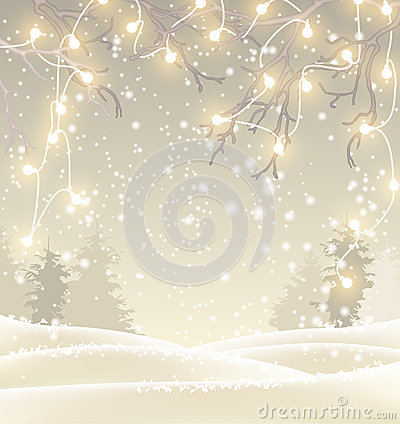 Christmas background in sepia tone, winter landscape with small electric lights, illustration Vector Illustration