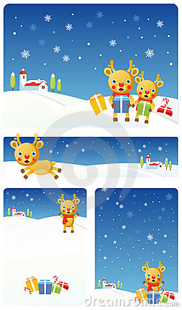 Christmas Background Set | Reindeer