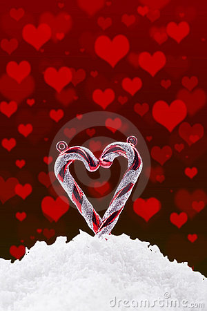 Christmas background with snow and hearts