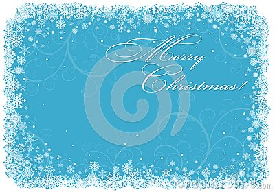Blue Christmas background with snowflakes.