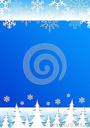 Christmas background snowflakes trees.