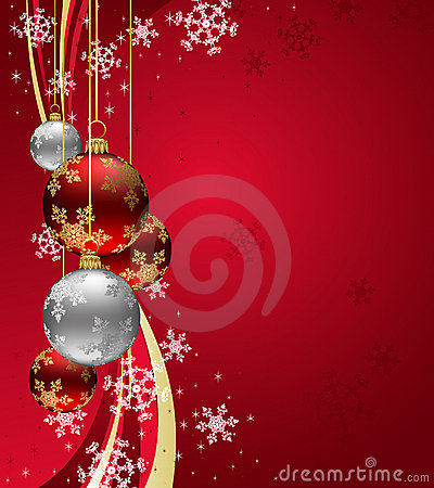 Christmas Background with sparkle swirl and Red Ba