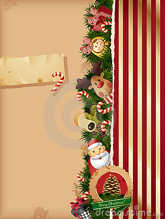 Christmas background- tors and old paper