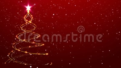 Christmas Background Tree Animated Background Falling Snow. Christmas Tree Particle Animation with Snow Falling on Simple Red Background. Beautiful Holiday stock video footage