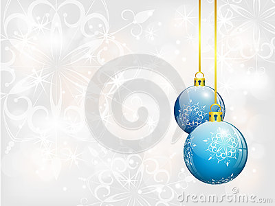 Christmas background with two blue balls
