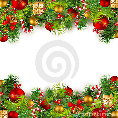 Free Christmas Background With Baubles And Christmas Tr Royalty Free Stock Image - 17055506