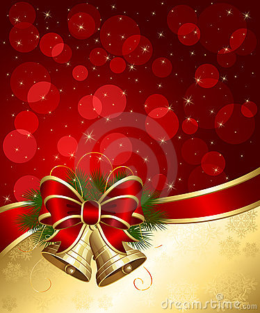 Free Christmas Background With Bells And Blurry Lights Stock Photography - 20934912