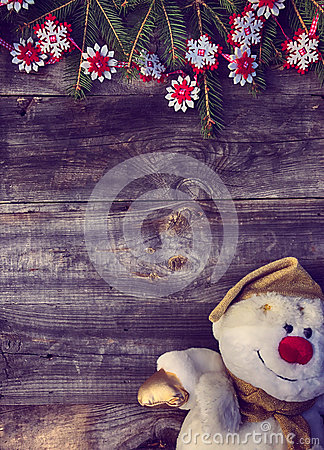 Free Christmas Background With Branches Of Spruce And Snowman Textile Royalty Free Stock Images - 81051909