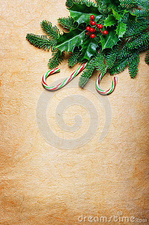 Free Christmas Background With Candy Canes And Spruce Branch Stock Photo - 50668950