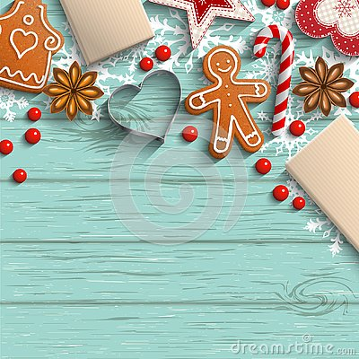 Free Christmas Background With Gingerbread, Spices And Ornaments Royalty Free Stock Photos - 131247118