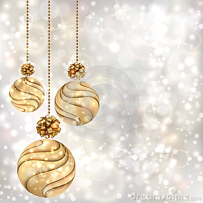 Free Christmas Background With Gold Balls Stock Photography - 27406252