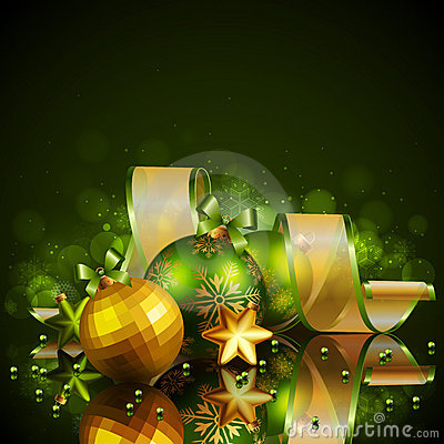 Free Christmas Background With Green And Golden Balls Stock Photography - 22553402
