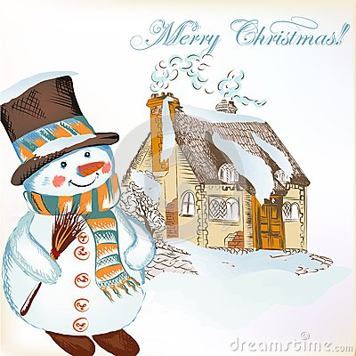 Free Christmas Background With Hand Drawn Snowman And Little House Royalty Free Stock Photography - 31378267