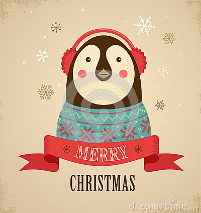 Free Christmas Background With Hipster Penguin Royalty Free Stock Photography - 33525717