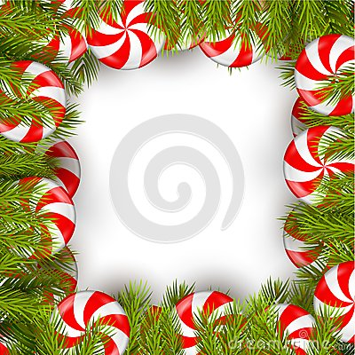 Free Christmas Background With Lollipop And Pine Tree Stock Photos - 64054893